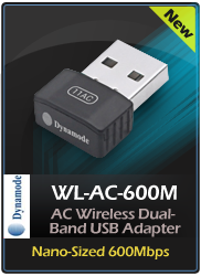 DYNAMODE Nano-Sized 600Mbps AC Wireless Dual-Band USB Adapter, Black (WL-AC-600M)