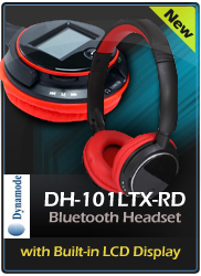 DYNAMODE DH-101LTX-RD Bluetooth Stereo Headphone with LCD Display and Built-in Microphone, Black/Red (DH-101LTX-RD)