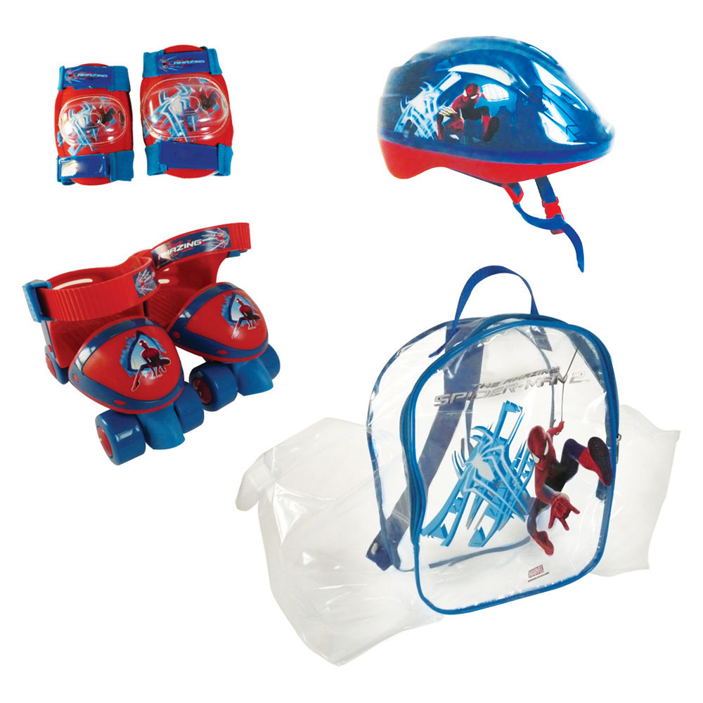 MARVEL COMICS Spider-Man Quad Skates Set (Quads Skates, Protective Helmet/Pads & Bag) (OSPI002)
