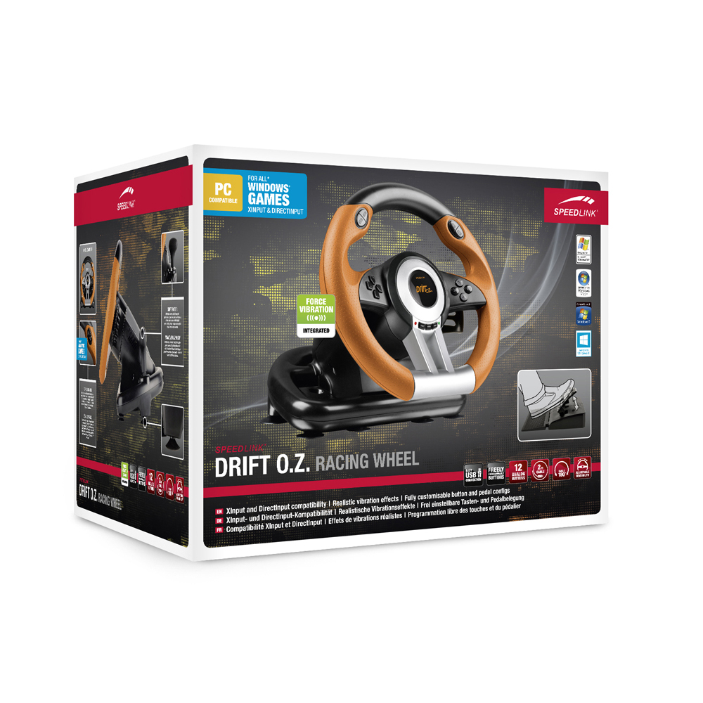 speedlink drift o z racing wheel with pedals and gear. Black Bedroom Furniture Sets. Home Design Ideas
