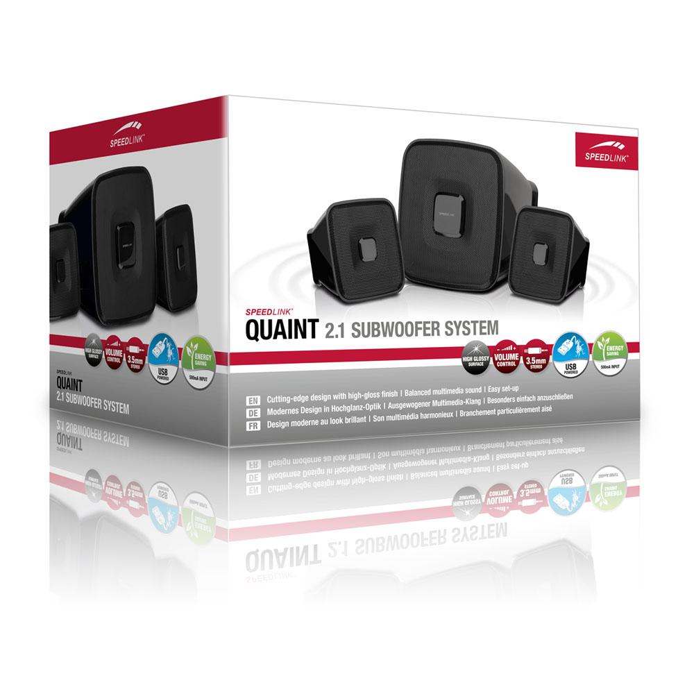 SPEEDLINK Quaint 2.1 USB Powered Subwoofer System, Black (SL-8204-BK)
