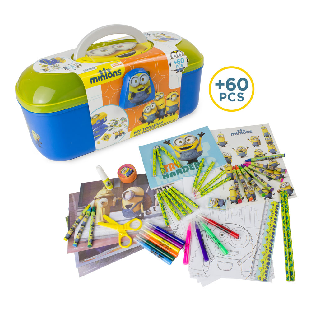 MINIONS Kids Tool Box with 60 Piece Creative Activity Set (CMIN013)