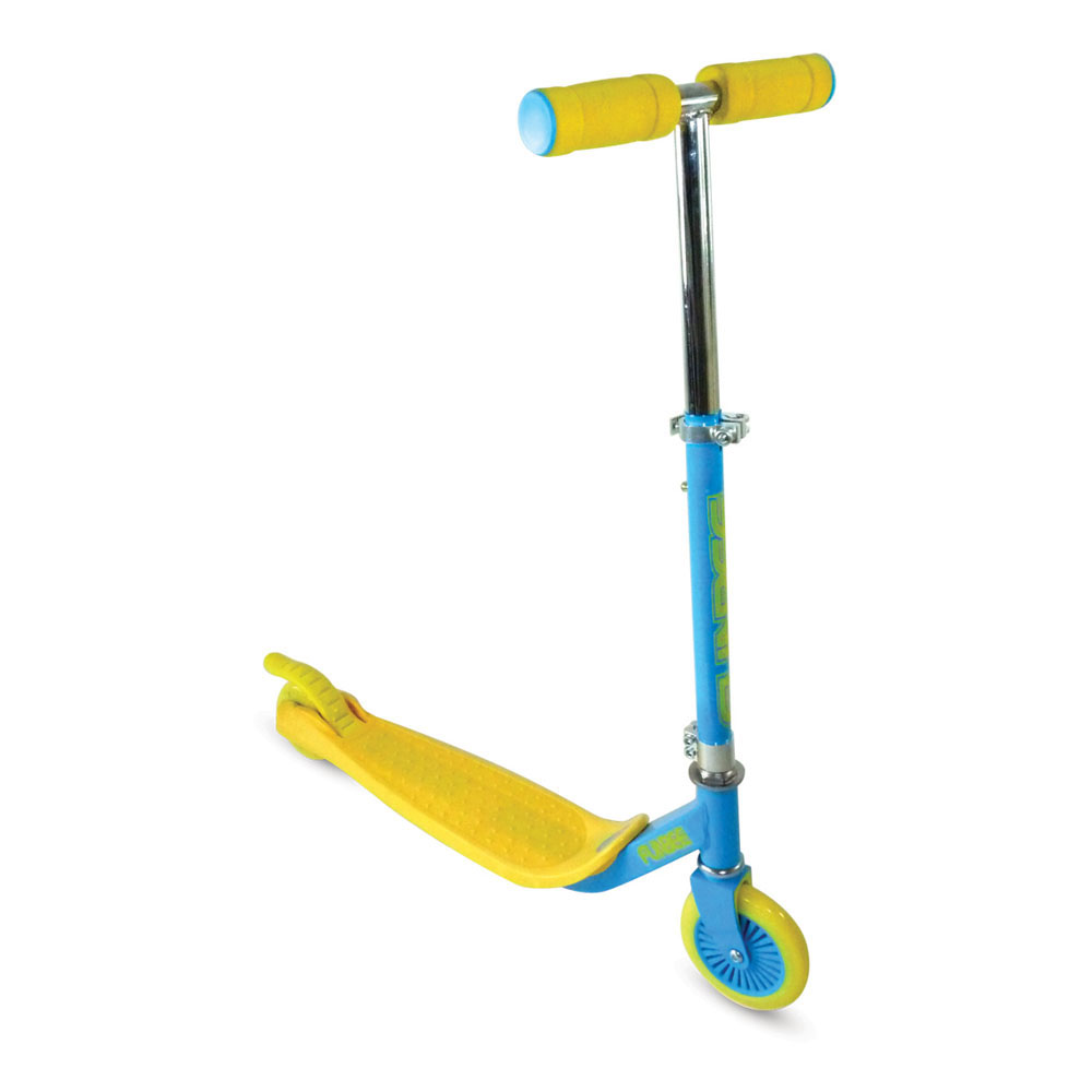 FUNBEE Two Wheel Scooter With Rear Brake And Adjustable Handlebars, Blue/Yellow (OFUN66-G)