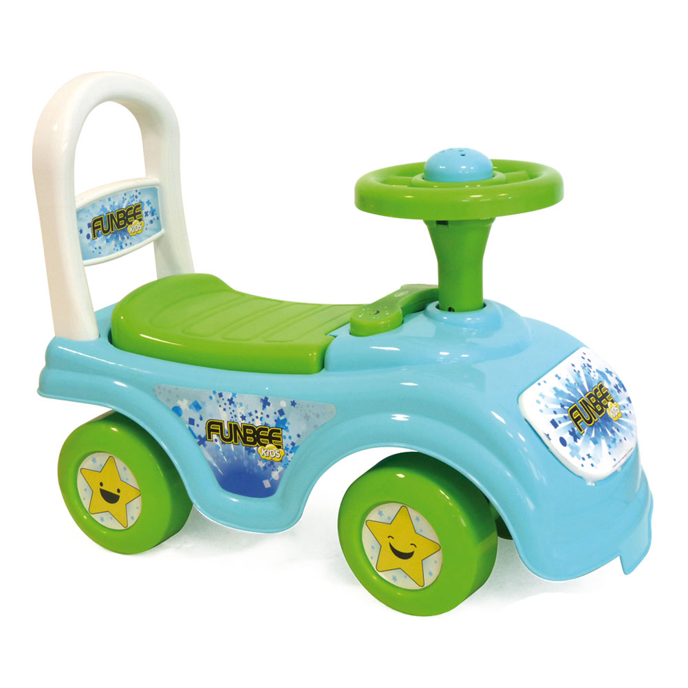 FUNBEE My First Ride-On With Push Bar, Green/Blue (OFUN23)