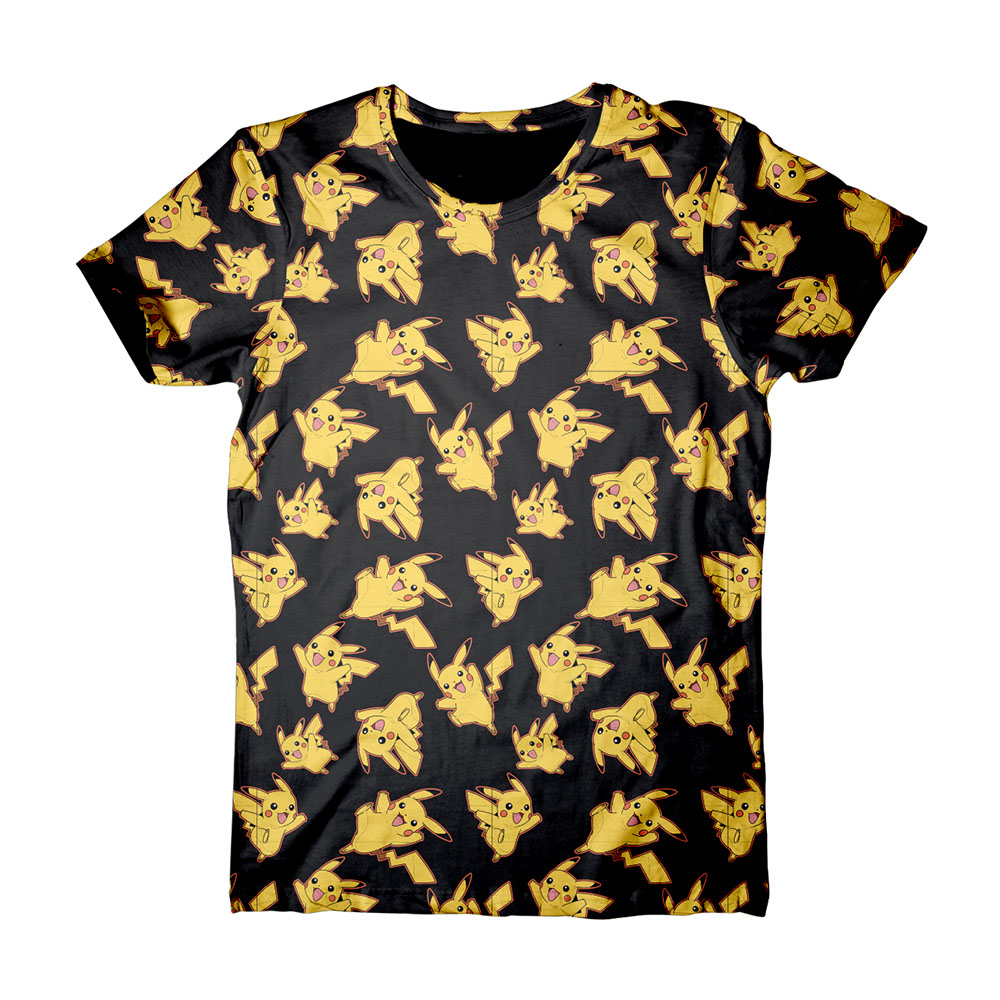 Black t shirt xl - Pokemon Adult Male Pikachu All Over Print T Shirt Extra Large Black