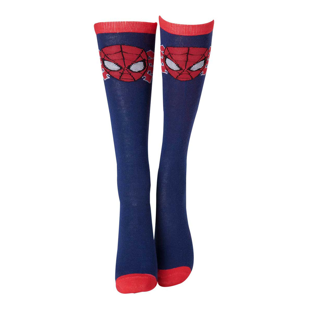 2c78914e2 MARVEL COMICS Spider-Man Face Mask Close-up Knee High Socks