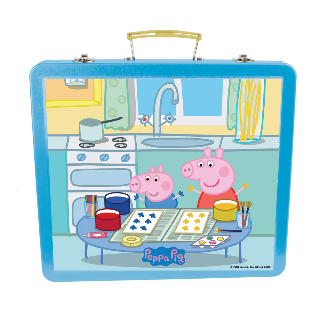PEPPA PIG Art Tin Case with 60pc Creative Accessories Kit, Blue (CPEP132)
