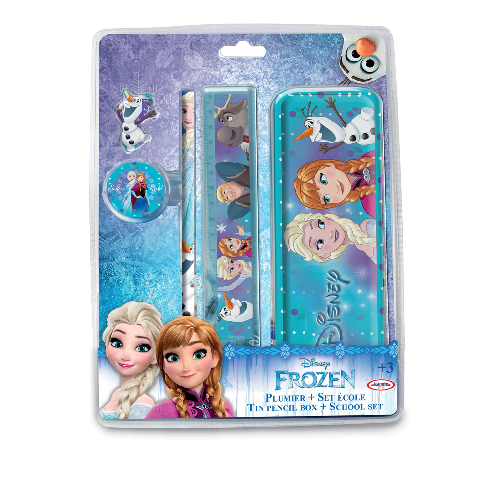 DISNEY Frozen Garnished Tin Pencil Box with 4pc School Set (CFRO052)