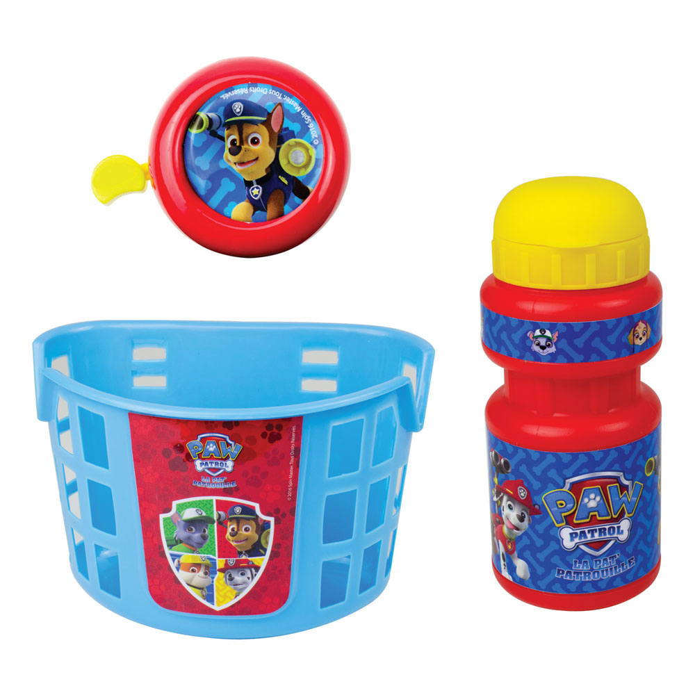 PAW PATROL Bike Basket, Water Bottle and Bell Accessories Pack (OPAW074)