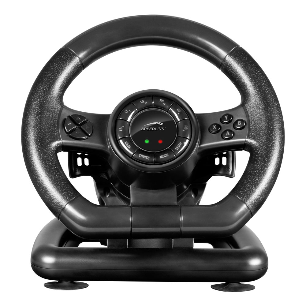 speedlink black bolt racing wheel for pc with vibration. Black Bedroom Furniture Sets. Home Design Ideas