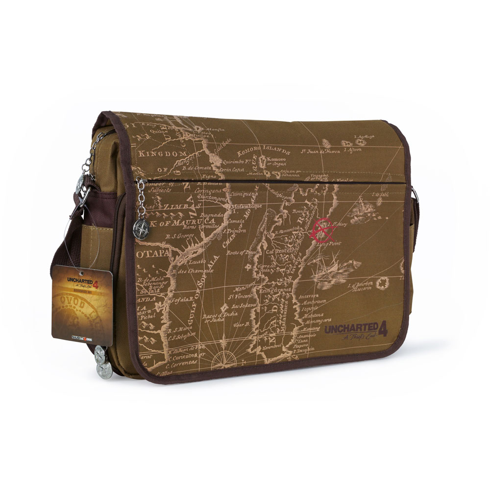 UNCHARTED 4 A Thief's End Treasure Map Messenger Bag, Brown