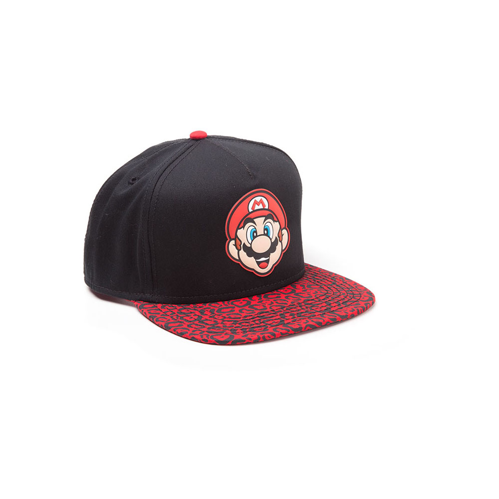 Nintendo Super Bros. Mario Face Snapback Animal Print Brim Red (Sb097518Ntn) Baseball Cap, Black, One Size Meroncourt