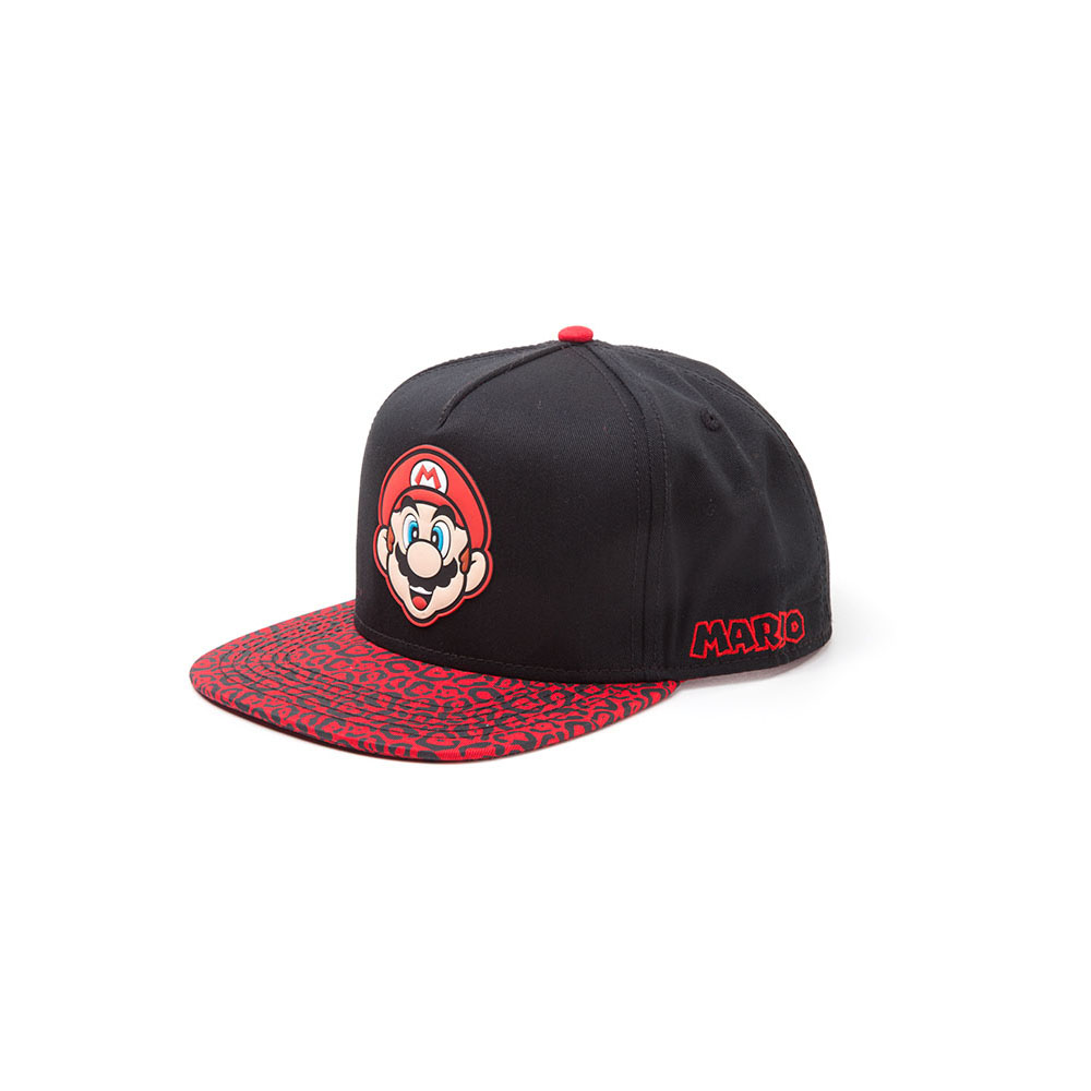 0197ec96e711 ... NINTENDO Super Mario Bros. Mario Face Rubber Patch Snapback Baseball  Cap with Animal Print Brim