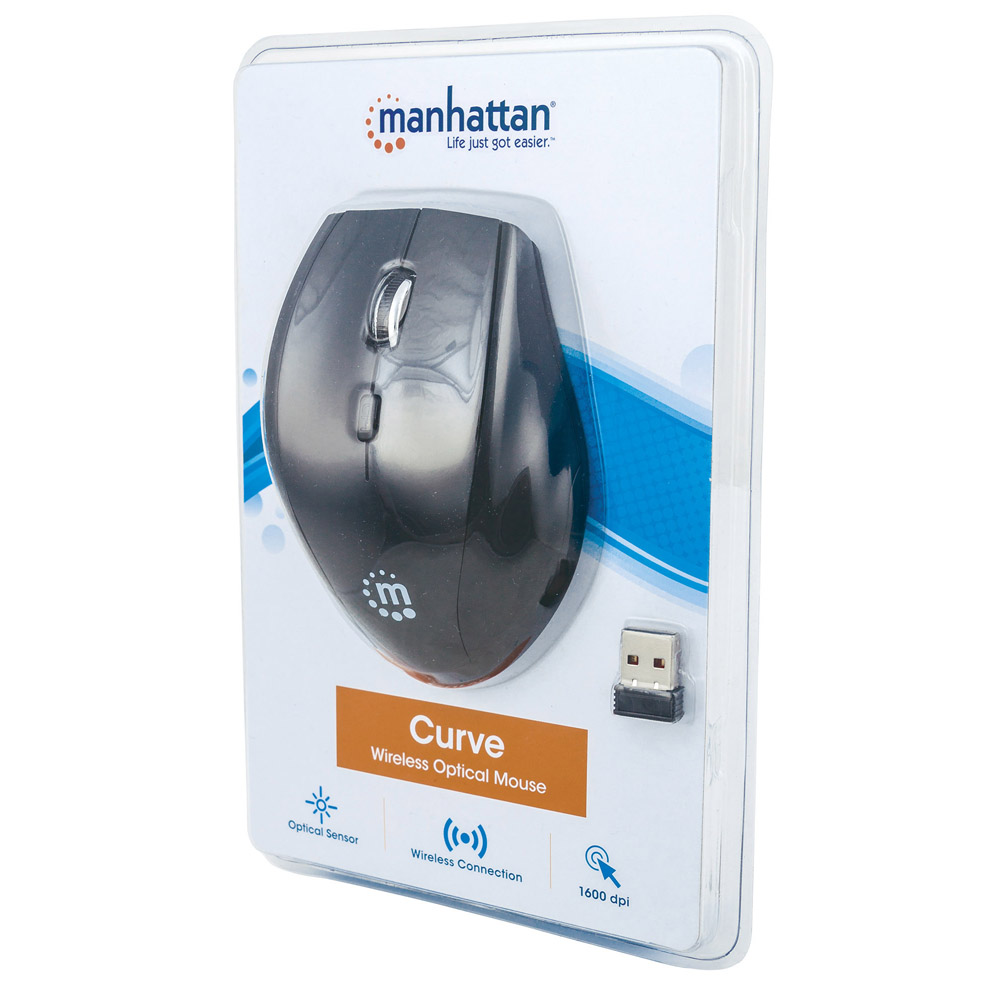 Manhattan Curve 1600dpi Optical Wireless Mouse With Usb Receiver Micro Power 24ghz Plug And Play Black 179386