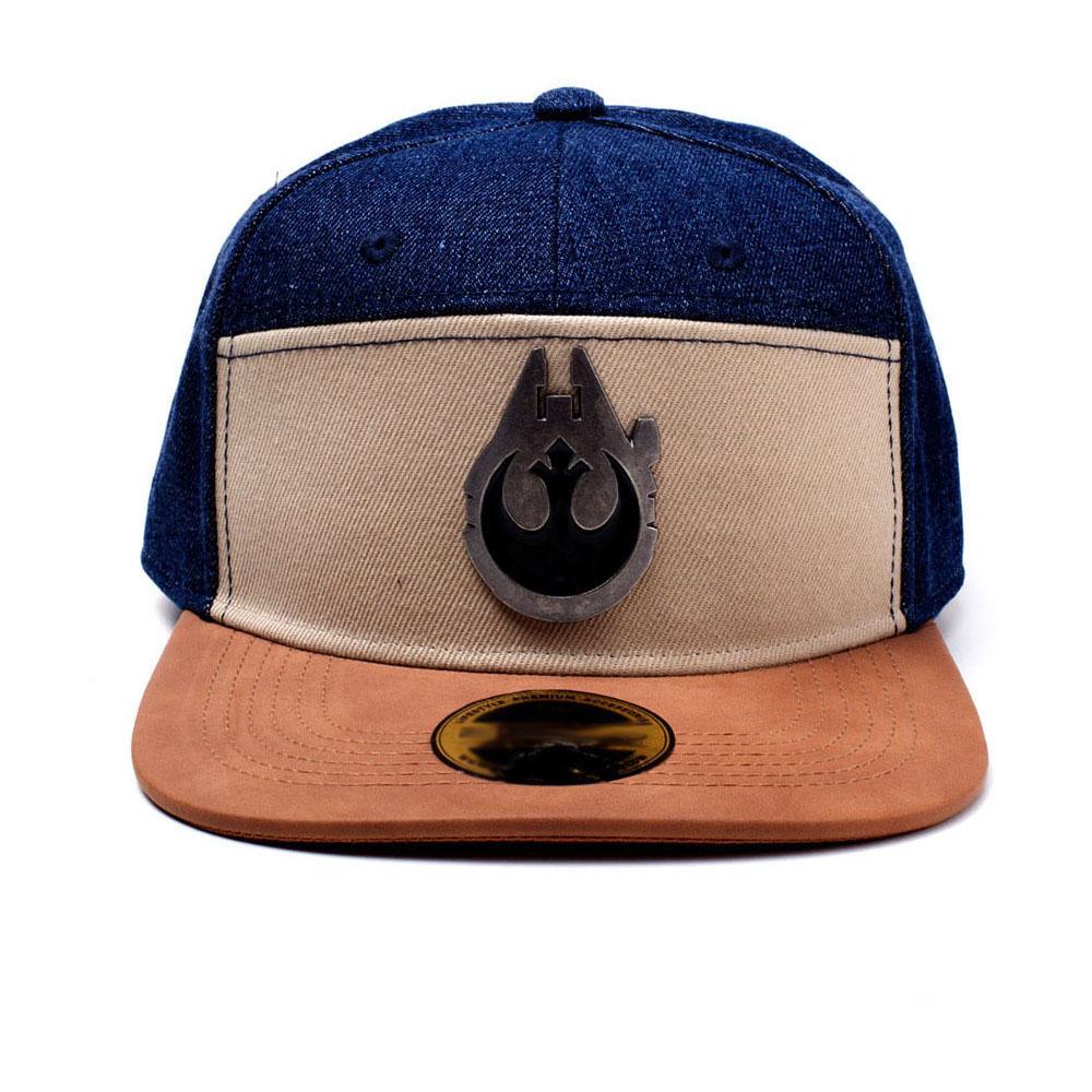 STAR WARS Han Solo Millennium Falcon Metal Badge Denim Snapback Baseball Cap 037ef30995