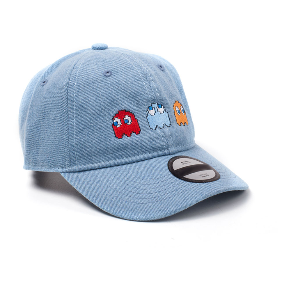 ... PAC-MAN Embroidered Ghosts Stone Washed Denim Dad Cap 46df8adc554a