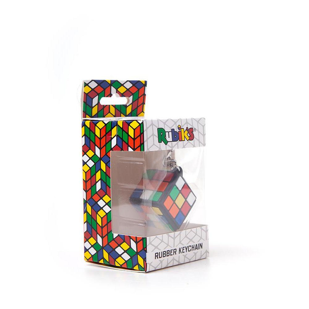 RUBIK'S CUBE 3D Rubber Pendant Keychain, Multi-colour