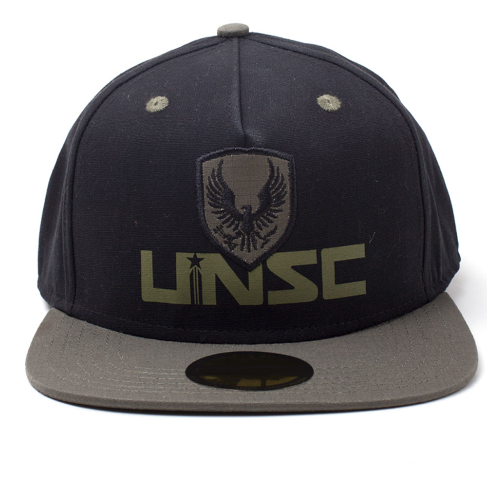 HALO UNSC Logo Print with 2D Badge Embroidered Patch Snapback Baseball Cap 72096e1d8e15