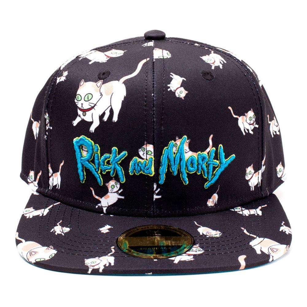 f9f8148316e RICK AND MORTY Embroidered Logo and Cats All-over Print Snapback Baseball  Cap