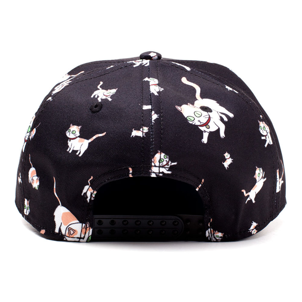2ebc37088f7 ... Black RICK AND MORTY Embroidered Logo and Cats All-over Print Snapback  Baseball Cap