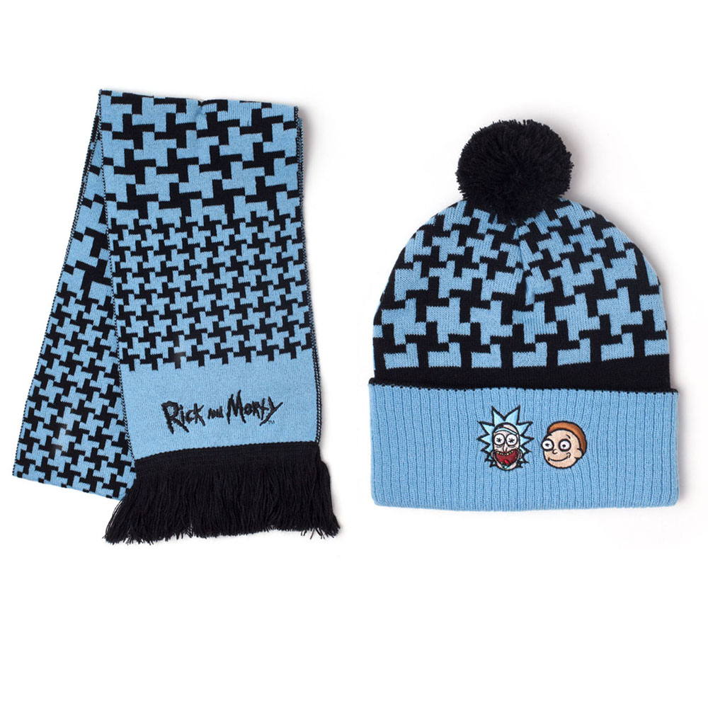 e67fd5ed59abd4 RICK AND MORTY Beanie and Scarf Gift Set, Unisex, Blue/Black (GS201170RMT