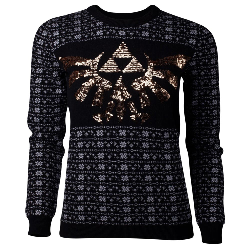 NINTENDO Legend of Zelda Glitter Tri-force Christmas Knitted Sweater ...