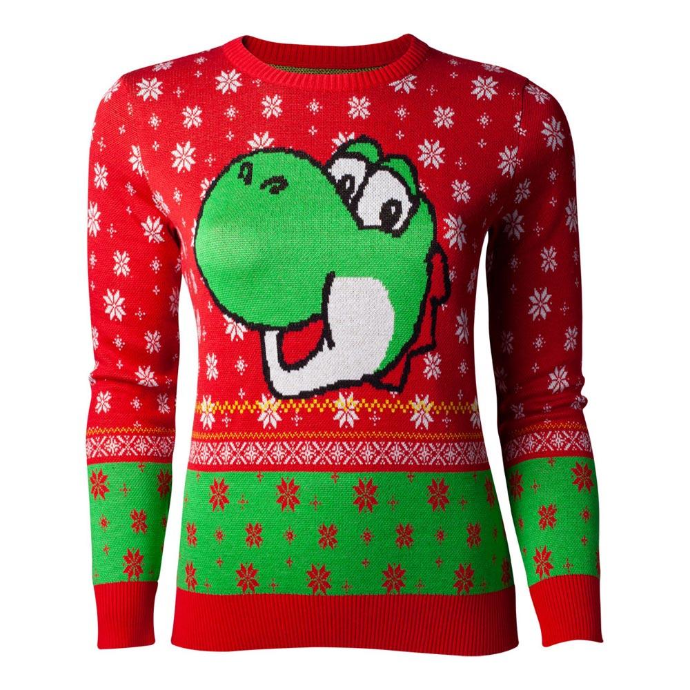 NINTENDO Super Mario Bros. Yoshi Christmas Knitted Sweater, Female ...