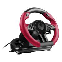 SPEEDLINK Trailblazer Vibration Effect Racing Wheel with Pedals for PlayStation PS4 and PS3/PC, Black/Red (SL-450500-BK)