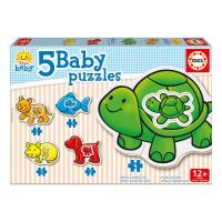 EDUCA Baby Early Learning Animals Jigsaw Puzzles, 5 Piece Set (14864)