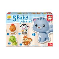 EDUCA Baby Early Learning Baby Animals Jigsaw Puzzles, 5 Piece Set (13473)
