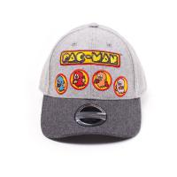 PAC-MAN Embroidered Ghosts Curved Bill Cap, Grey (BA686805PCM)