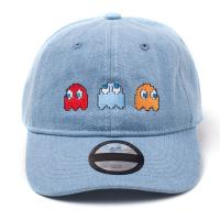 PAC-MAN Embroidered Ghosts Stone Washed Denim Dad Cap, Blue (BA604313PCM)