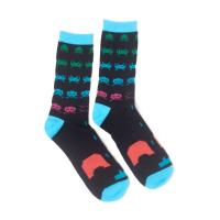 SPACE INVADERS In-Game Crew Socks, Unisex, 43/46, Black/Turquoise (CR702283SPI-43/46)
