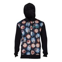 RICK AND MORTY Character Faces Pattern Sublimation Print Full Length Zipped Hoodie, Male, Large, Black (HD665437RMT-L)