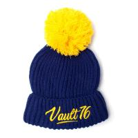 FALLOUT 76 Embroidered Vault 76 Logo Bobble Beanie, Unisex, Blue/Yellow (KC105223FAL)