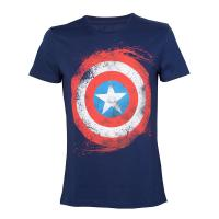 MARVEL COMICS Captain America Swirling Shield T-Shirt, Male, Extra Extra Large, Blue (TS180803MAR-2XL)