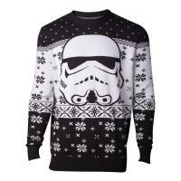 STAR WARS Star Wars The Last Jedi Stormtrooper Mask Christmas Knitted Sweater, Male, Large, Black/White (KW402326STW-L)