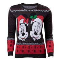 DISNEY Mickey Mouse Mickey & Minnie Christmas Knitted Sweater, Female, Small, Dark Grey/Red (SW624502MCK-S)