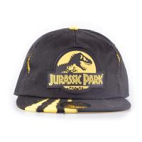 UNIVERSAL Jurassic Park Logo Rubber Patch with Ripped Effect Snapback Baseball Cap, Unisex, Black/Yellow (SB733516JPK)