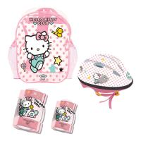 HELLO KITTY Club Children's Helmet, Knee, Elbow Protection Set with Carry Bag, Girl, Ages Three Years and Above, Pink/White (OHKY004-2)