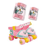 HELLO KITTY Club Children's Adjustable Quad Roller Skates with Elbow and Knee Protection Set, Size 7 to 11 UK, Girl, Ages Three Years and Above, Pink/White (OHKY019-2)